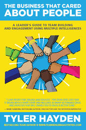 Team Building Activities, Book Cover, Tyler Hayden, www.teambuildingactivities.com, hands fist pump, diverse, yellow and blue book cover, blue circle, Business team building at work